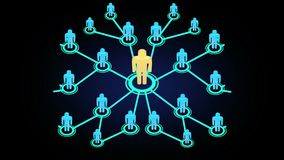 rede gráfica da animação do movimento 3D dos povos que crescem rapidamente em uns meios ou em uma comunidade social com referênci