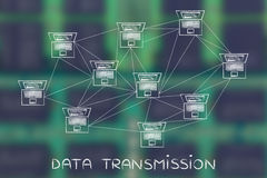 Rede informática com abundância das conexões, transmissão de dados  Foto de Stock Royalty Free