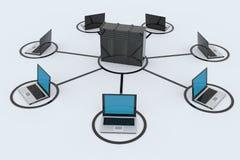 Rede informática com server ilustração stock