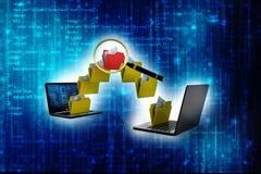 Rede informática, conceito de uma comunicação do Internet 3d rendem ilustração stock