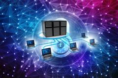Rede informática, uma comunicação do Internet, isolada no fundo branco rendição 3d Fotografia de Stock