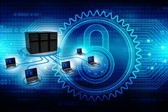 Rede informática, uma comunicação do Internet, isolada no fundo da tecnologia rendição 3d Imagem de Stock