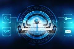 Rede informática, uma comunicação do Internet, isolada no fundo da tecnologia rendição 3d Foto de Stock Royalty Free