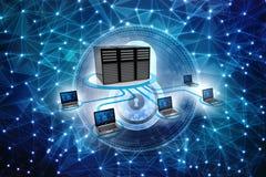 Rede informática, uma comunicação do Internet no fundo da tecnologia rendição 3d ilustração do vetor