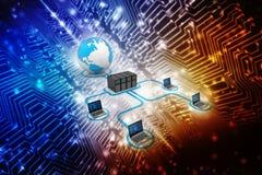 Rede informática, uma comunicação do Internet no fundo da tecnologia rendição 3d Foto de Stock Royalty Free