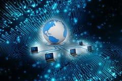 Rede informática, uma comunicação do Internet no fundo da tecnologia rendição 3d Fotos de Stock
