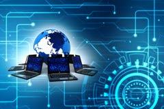 Rede informática, uma comunicação do Internet no fundo da tecnologia rendição 3d Imagem de Stock