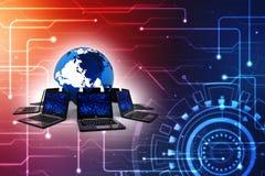 Rede informática, uma comunicação do Internet no fundo da tecnologia rendição 3d Fotos de Stock Royalty Free