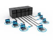 Rede informática, uma comunicação do Internet no fundo da tecnologia rendição 3d ilustração royalty free