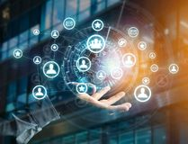 Rede internacional indicada em uma relação futurista com g Fotos de Stock