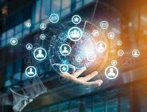 Rede internacional indicada em uma relação futurista com g Imagens de Stock
