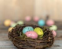 Rede med färgrika ägg på åldrigt trä fotografering för bildbyråer