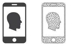 Rede Mesh Cellphone Profile do vetor e ícone liso ilustração royalty free