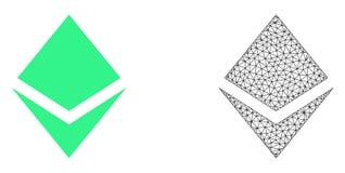Rede Mesh Crystal do vetor e ícone liso ilustração stock