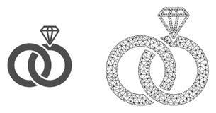 Rede Mesh Jewelry Wedding Rings do vetor e ícone liso ilustração do vetor