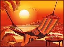 Rede na praia no por do sol Fotografia de Stock