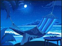 Rede na praia na noite Imagens de Stock