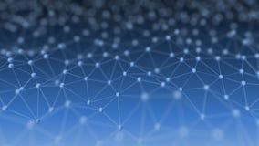 Rede neural abstrata na ilustração azul do fundo 3d Fotos de Stock Royalty Free