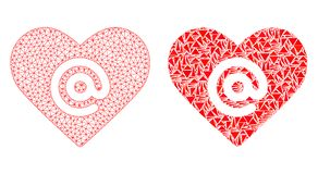 Rede poligonal Mesh Dating Heart Address e ícone do mosaico ilustração royalty free
