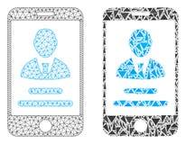 Rede poligonal Mesh Mobile User Info e ícone do mosaico ilustração do vetor