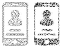 Rede poligonal Mesh Smartphone User Info e ícone do mosaico ilustração royalty free