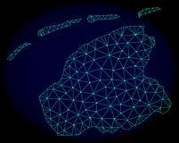 Rede poligonal Mesh Vetora Abstract Map da província de Friesland ilustração royalty free