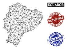 Rede poligonal Mesh Vetora Map de selos do Grunge de Equador e de rede ilustração royalty free