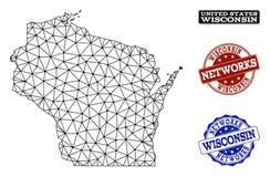 Rede poligonal Mesh Vetora Map de selos do Grunge do estado e da rede de Wisconsin ilustração stock