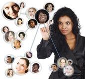 Rede social da mulher de negócios do americano africano Imagens de Stock