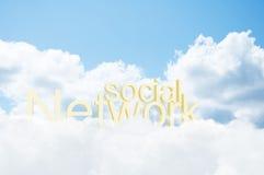 rede social da palavra 3d nas nuvens Fotos de Stock