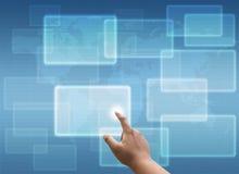 Rede social da pressão de mão e tela táctil virtual Foto de Stock Royalty Free
