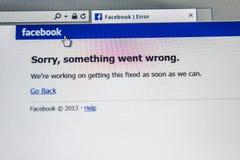 Rede social de Facebook para baixo Imagem de Stock