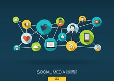 Rede social dos media o fundo com integra ícones lisos Imagens de Stock Royalty Free