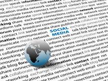 A rede SOCIAL global dos MEDIA conecta a página das palavras Foto de Stock