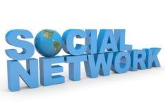 Rede social. Globo da terra que substitui a letra O. Imagens de Stock