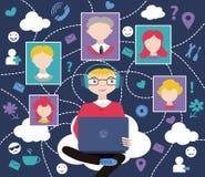 Rede social (ilustração do vetor) Fotografia de Stock Royalty Free