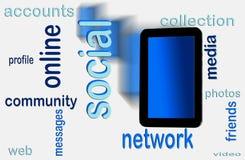 Rede social na tabuleta Fotografia de Stock