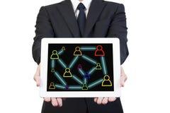 Rede social na tabuleta Fotos de Stock