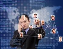 Rede social no fundo azul Fotografia de Stock Royalty Free