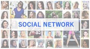 Rede social O texto do título é descrito no fundo de foto de stock