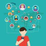 Rede social, pessoa que conecta pelo mundo inteiro ilustração royalty free