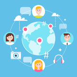 Rede social, seguidores e ilustração social do mercado dos meios Imagem de Stock Royalty Free
