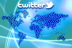 Rede social Twitter Logo Wallpaper dos meios Imagem de Stock Royalty Free