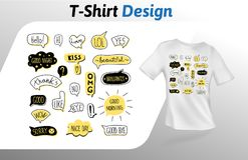 Rede sprudelt mit kurzen handgeschriebenen Mitteilungen, T-Shirt Druck Spott herauf T-Shirt Designschablone Rand der Farbband-, L Lizenzfreie Stockfotografie
