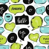 Rede sprudelt nahtloses Muster Vektorhintergrund von schwarzen grün-blauen Blasen mit Wort: hallo, überraschend, lieben Sie Sie vektor abbildung