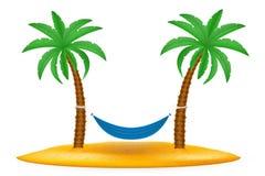 Rede suspendida entre a ilustração conservada em estoque do vetor das palmeiras Fotografia de Stock