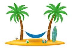 Rede suspendida entre a ilustração conservada em estoque do vetor das palmeiras Foto de Stock Royalty Free