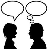 Rede u. Gesprächsmann u. -frau sagen hören u. denken Stockbild