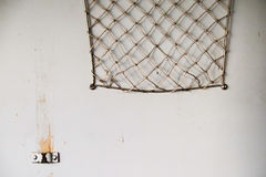 Rede velha do bagage na parede do trem Fotografia de Stock