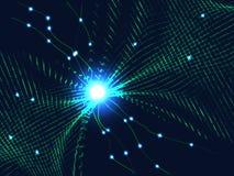 Rede verde das linhas e do fundo das partículas Backgr do vetor Foto de Stock Royalty Free
